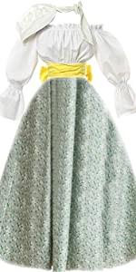 Pioneer Costume Dress Civil War Prairie Colonial Floral Dress