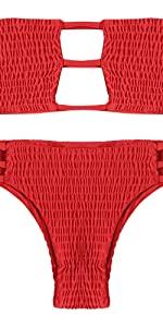 ZAFUL Strapless Backless Shirring Strappy Swimwear