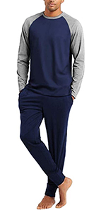 Ekouaer Men's Pajama Set Long Sleeve Pjs Set Top and Pant Sleepwear Soft Lounge Set