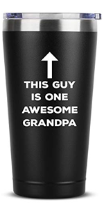 This Guy Is One Awesome Grandpa - 16 oz Black Insulated Stainless Steel Tumbler w/Lid Mug