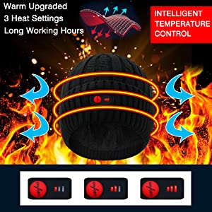 mens womens electric heated hats novelty sports caps outdoor recreation skullies beanies black