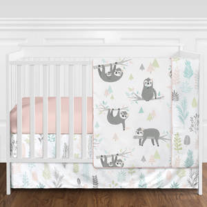 Pink and Grey Jungle Sloth Leaf Baby Girl Nursery Crib Bedding Set without Bumper - 11 pieces
