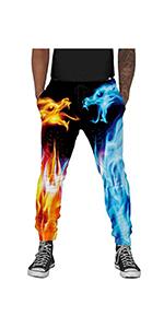 B08KVZ8W3M Mans 3D Print Jogger Pants Fire Dragon