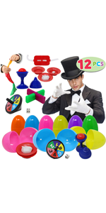 12 PCs Prefilled Easter Eggs with Classic Magic Tricks