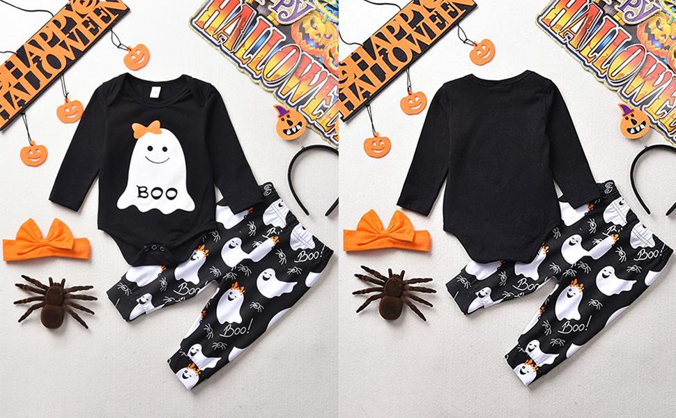 baby girl halloween boo bodysuit