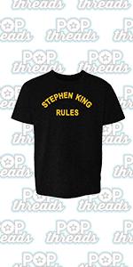Stephen King Rules Horror Movie Book Merchandise Toddler Kids Girl Boy T-Shirt