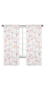 Blush Pink, Grey and White Window Treatment Panels Curtains for Watercolor Floral Collection