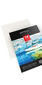 "9X12"" Watercolor Pad, 14 Sheets (140lb/300gsm), 100% Cotton"