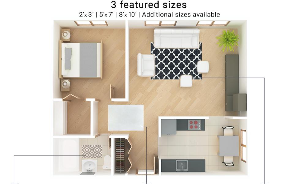 3D Shag Size Guide