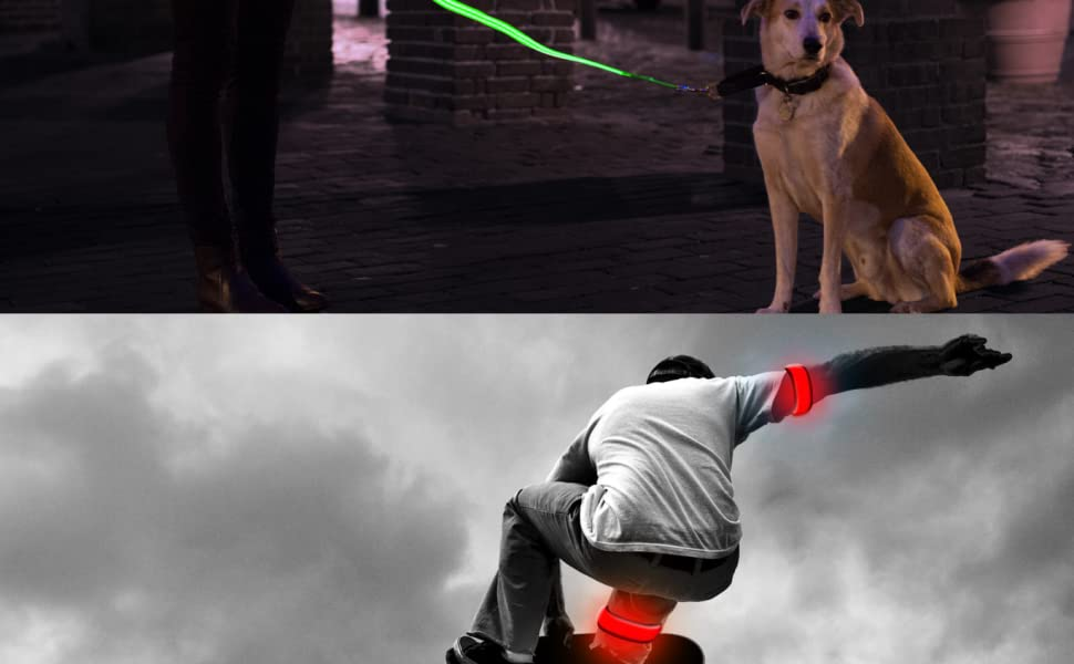 4ID 4 ID LED LIGHTS RUNNING DOG LEASH COLLAR PETS RED BLUE RAINBOW GREEN ORANGE PINK SAFE JOGGING