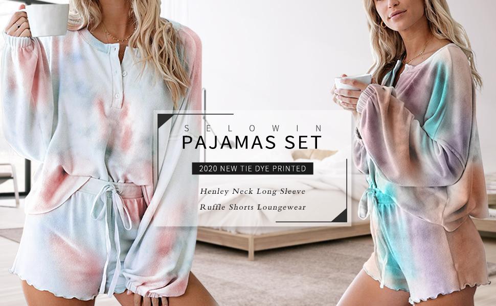 Women Tie Dye Pajama Short Set Notch Collar Nightwear Sleepwear Multicoloured