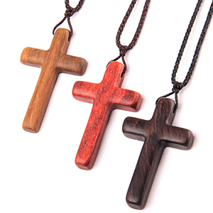 Natural Wooden Cross Pendant Necklaces for Children Kids Boy Girl Women Men Sandalwood Handcrafted Gift Wood Hang from Car Rearview Mirror Pendant Vehicle Decoration