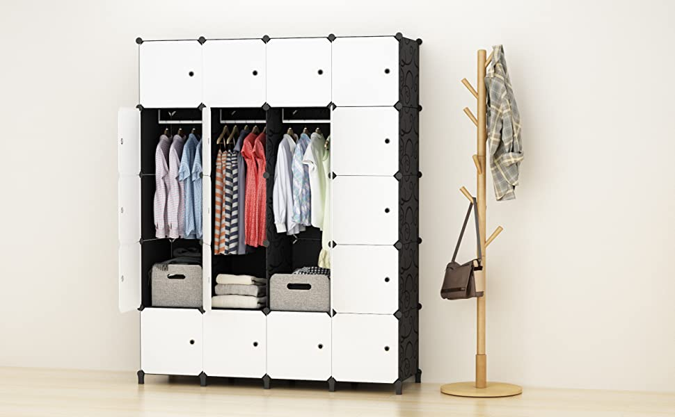 Portable Wardrobe for Hanging Clothes, Combination Armoire, Modular Cabinet