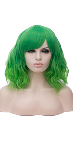 ombre green curly wig