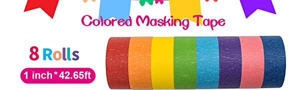 colored masking tape 8 rolls