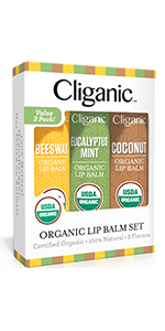 Cliganic Lip Balm Set, 3 Pack