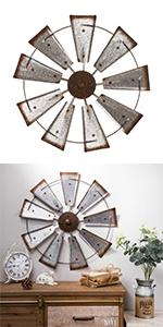 Farmhouse Galvanized Windmill Wall Decor Sculpture