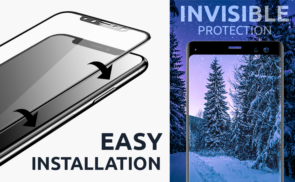 tempered glass curved full coverage invisible protection drop shock protect anti-scratch case friend