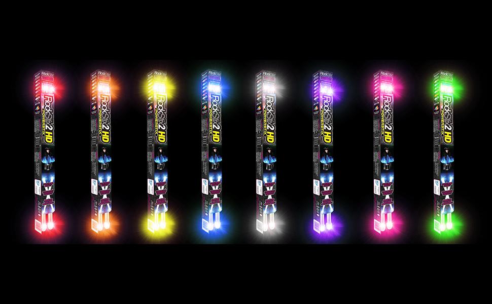rockstix rockstix2hd lineup colors color change light up drumsticks for kids neon led shine