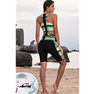 EVALESS Women Two Piece Swimsuits Surfing Sport Colorblock Sleeveless Swimwear