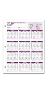 Attendance Calendar Cards