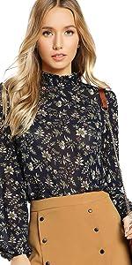 Floerns Women's Floral Print High Neck Puff Long Sleeve Chiffon Blouse