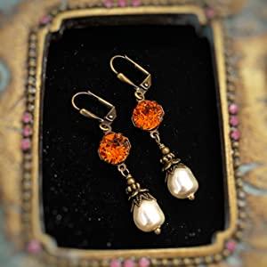 Orange crystal cluster earrings