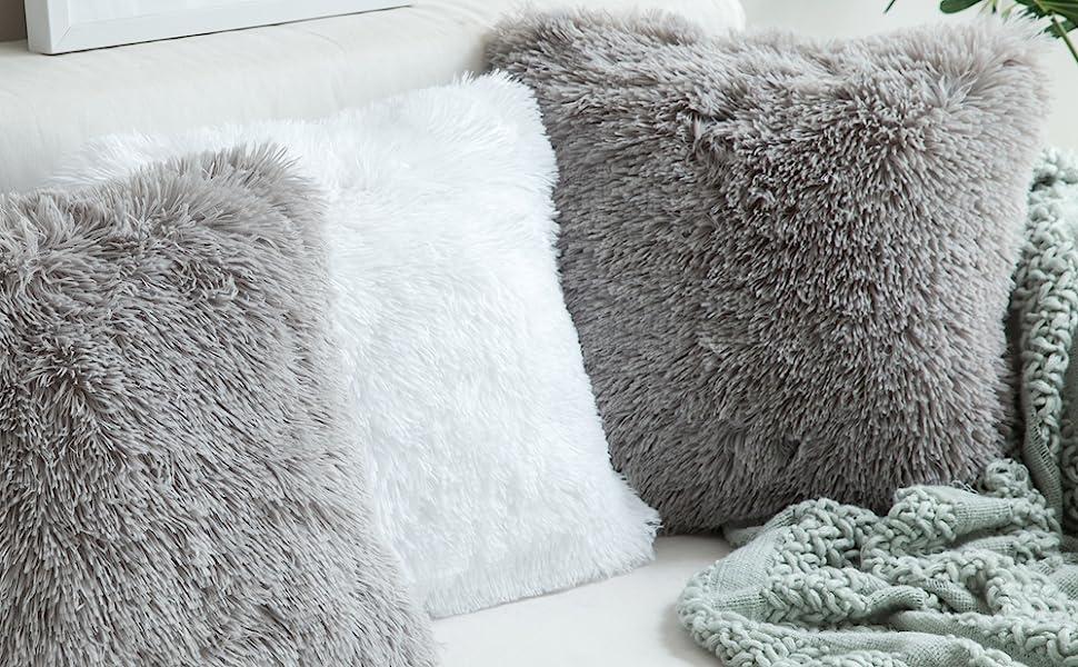 faux fur pillow covers white grey gray pillows accent decor fall decoration cozy plush