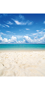 Beach Photography Backdrops Summer Tropical Seaside Island Blue Sky Clouds 3x5