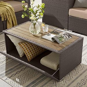 4 Piece Outdoor Patio Furniture Sets, Wicker Conversation Set for Porch Deck