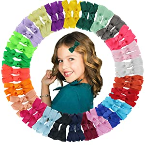 25 Color Baby Girls 2Inch Hair Bows Clips