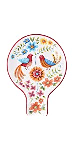 red spring bird spoon rest