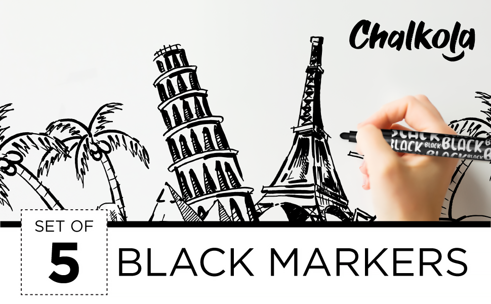Black Chalk Markers - Liquid Dry Erase Marker Pens for Bistro, Chalkboards Signs, Windows