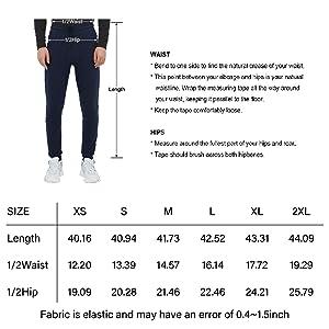 mens running pants size chart