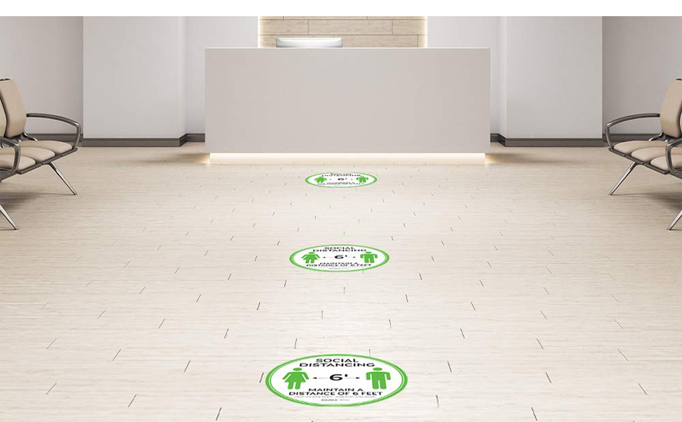 "Social Distancing Floor Signs - 11"" Round - White/Green"