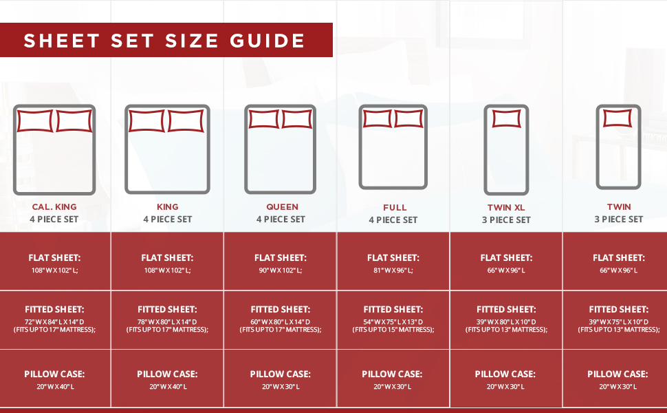 Sheet size guide twin twin-xl full queen king california king jersey flannel modal cotton heather