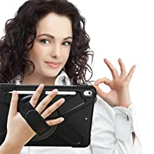 KIQ Shield case with hand strap allows you to carry your tablet securely at the palm of your hands