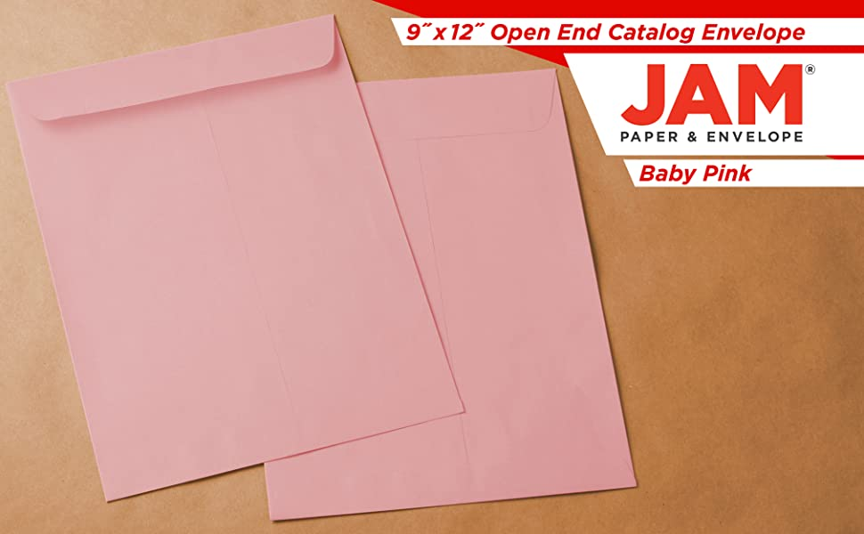 baby pink 9 x 12 open end envelopes
