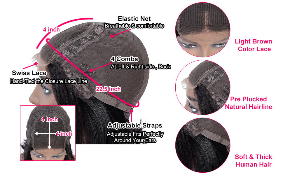4x4 lace front closure wigs