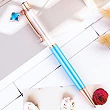 light blue crystal empty tube floating pen