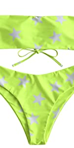 ZAFUL Star Lace Up Bandeau Bikini Set