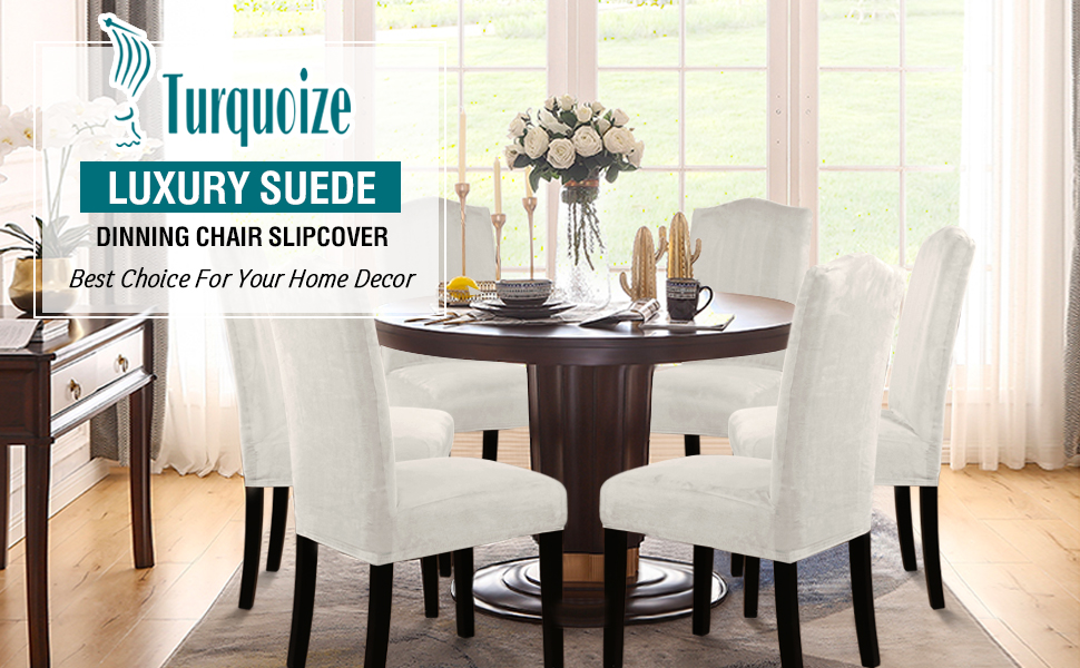 Turquoize Dining Chair Covers For Dining Room Stretch Chair Slipcover Sets Removable Washable Chair Furniture Protector Cover Suede Water Repellent Chair Covers For Dining Room Ceremony Ivory 4