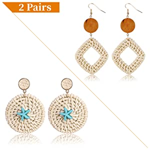Boho Statement Earrings,Lightweight Rattan Weave Straw Wicker Drop Dangle Beach Earrings Women