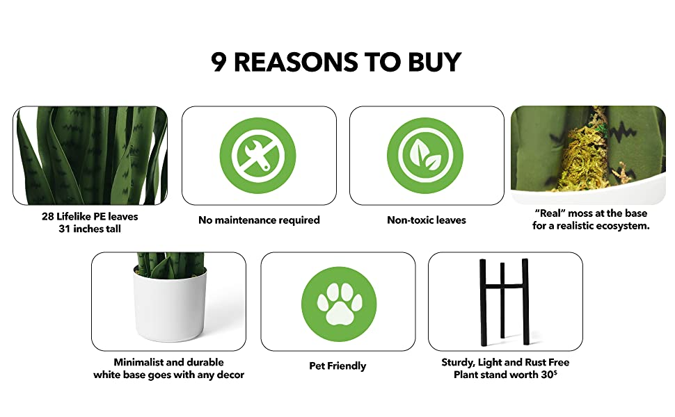28 PE leaves no maintenance non-toxic fake green moss white pot pet friendly tripod stand