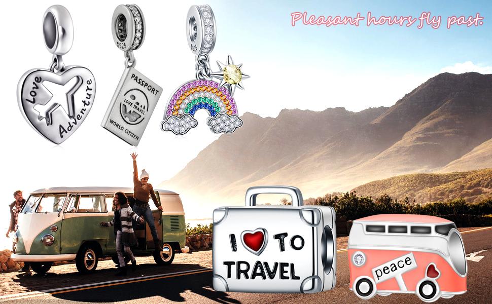 EMOSTAR I Love to Travel Charms fits Charm Bracelet