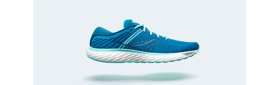 saucony triumph 17 running shoes in blue aqua