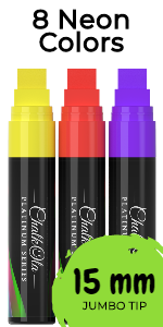 Jumbo Window Markers - Pack of 8 Neon Color Pens