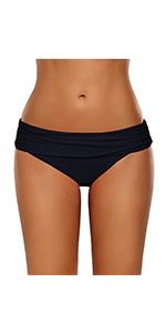 GRAPENT Women's Ruched Waistband Moderate Bikini Bottom Swimming Swimsuit Shorts