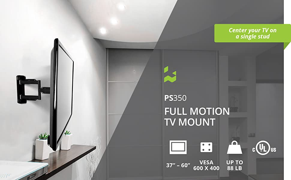 Kanto ps350 full motion tv wall mount supports up to 60 inch tvs weighing up to 88 pounds