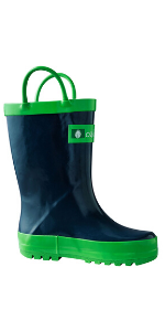 Navy blue loop handle rain boots, solid rain boots, classic kids and toddler rain boots